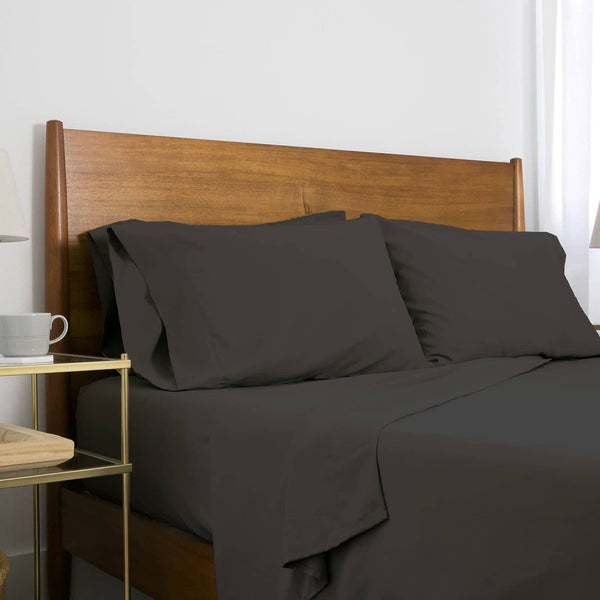 Extra-Soft Neutral and Solid Color Brushed Microfiber Deep Pocket 6-Piece Sheet Set in Black