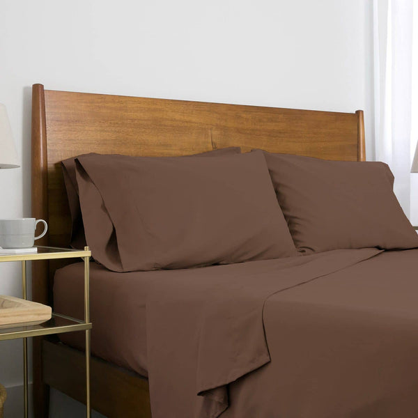 Extra-Soft Neutral and Solid Color Brushed Microfiber Deep Pocket 6-Piece Sheet Set in Brown