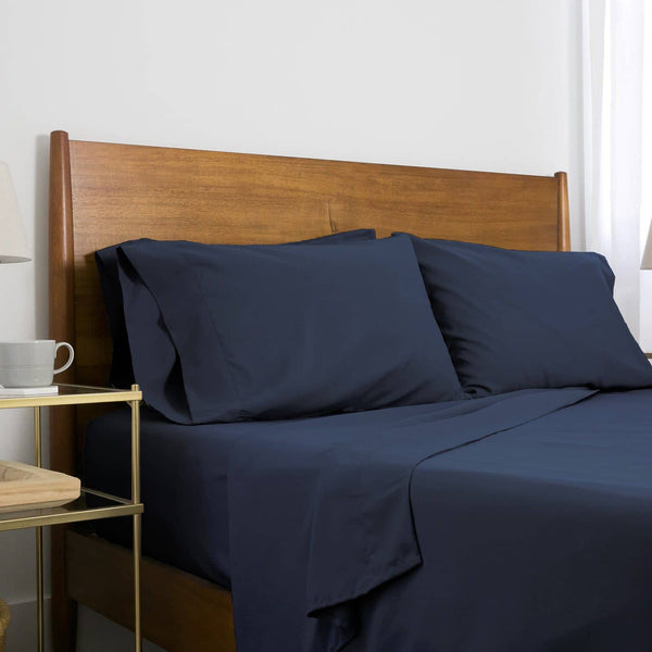 Extra-Soft Neutral and Solid Color Brushed Microfiber Deep Pocket 6-Piece Sheet Set in Dark Blue