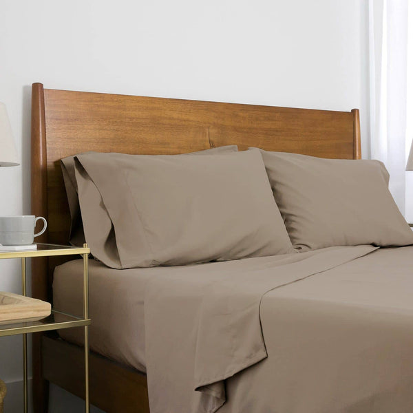 Extra-Soft Neutral and Solid Color Brushed Microfiber Deep Pocket 6-Piece Sheet Set in Dark Taupe