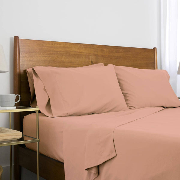 Extra-Soft Springtime Pastels Solid Color Brushed Microfiber Deep Pocket 6-Piece Sheet Set in Light Peach