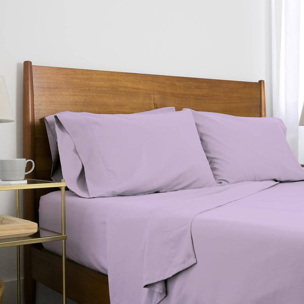 Extra-Soft Springtime Pastels Solid Color Brushed Microfiber Deep Pocket 6-Piece Sheet Set in Lilac