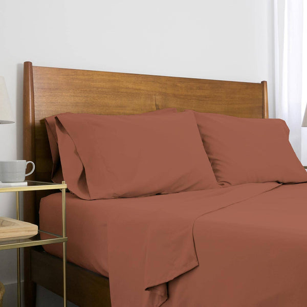 Extra-Soft Neutral and Solid Color Brushed Microfiber Deep Pocket 6-Piece Sheet Set in Marsala