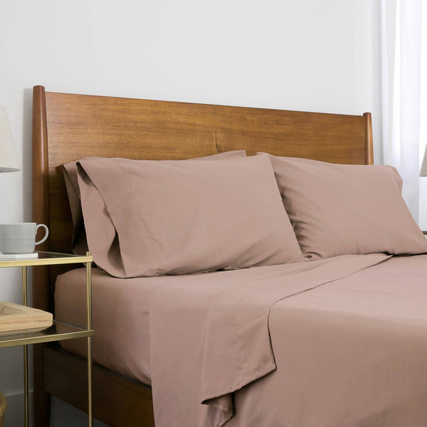 Extra-Soft Springtime Pastels Solid Color Brushed Microfiber Deep Pocket 6-Piece Sheet Set in muted mauve