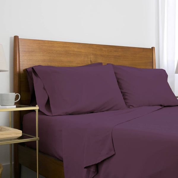 Extra-Soft Neutral and Solid Color Brushed Microfiber Deep Pocket 6-Piece Sheet Set in Purple