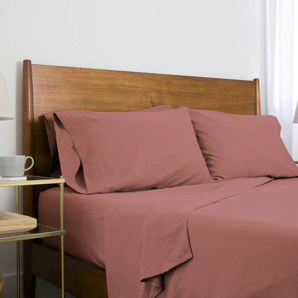 Extra-Soft Springtime Pastels Solid Color Brushed Microfiber Deep Pocket 6-Piece Sheet Set in Rose