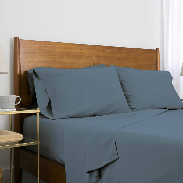 Extra-Soft Neutral and Solid Color Brushed Microfiber Deep Pocket 6-Piece Sheet Set in Steel Blue