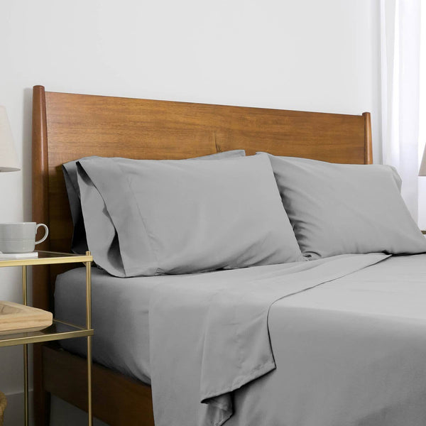 Extra-Soft Neutral and Solid Color Brushed Microfiber Deep Pocket 6-Piece Sheet Set in Steel Grey