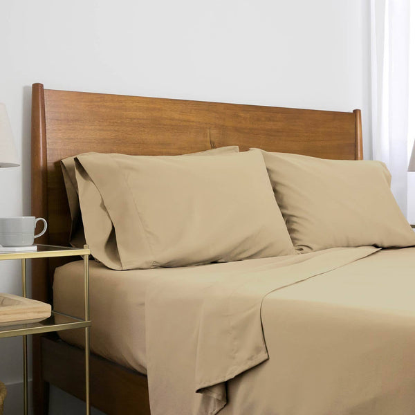 Extra-Soft Neutral and Solid Color Brushed Microfiber Deep Pocket 6-Piece Sheet Set in Warm Sand