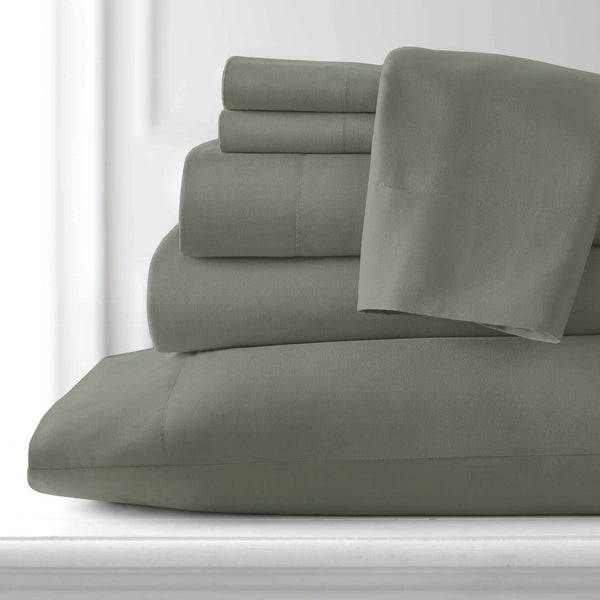 Extra-Soft Neutral and Solid Color Brushed Microfiber Deep Pocket 6-Piece Sheet Set in Dark Green