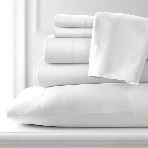 Extra-Soft Neutral and Solid Color Brushed Microfiber Deep Pocket 6-Piece Sheet Set in White
