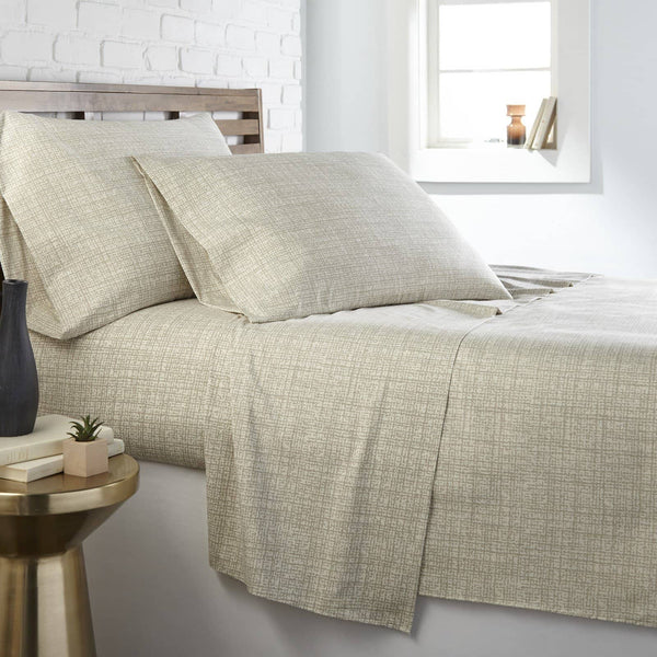Soft and Comfortable Olive Muted Mesh Microfiber Sheet and Pillowcase Set by Southshore Fine Linens Main Image