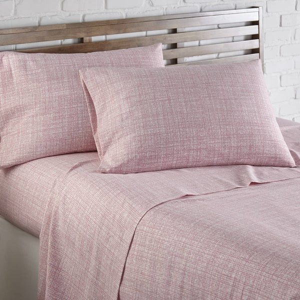 Soft and Comfortable Pink Muted Mesh Microfiber Sheet and Pillowcase Set by Southshore Fine Linens Image 2