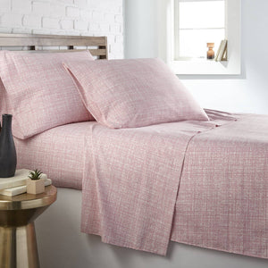 Soft and Comfortable Pink Muted Mesh Microfiber Sheet and Pillowcase Set by Southshore Fine Linens Main Image