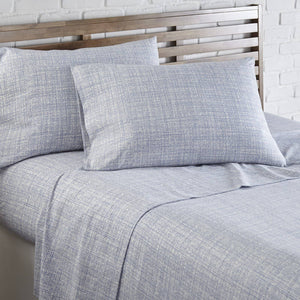 Soft and Comfortable Blue Muted Mesh Microfiber Sheet and Pillowcase Set by Southshore Fine Linens Image 2