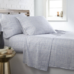 Soft and Comfortable Blue Muted Mesh Microfiber Sheet and Pillowcase Set by Southshore Fine Linens Main Image