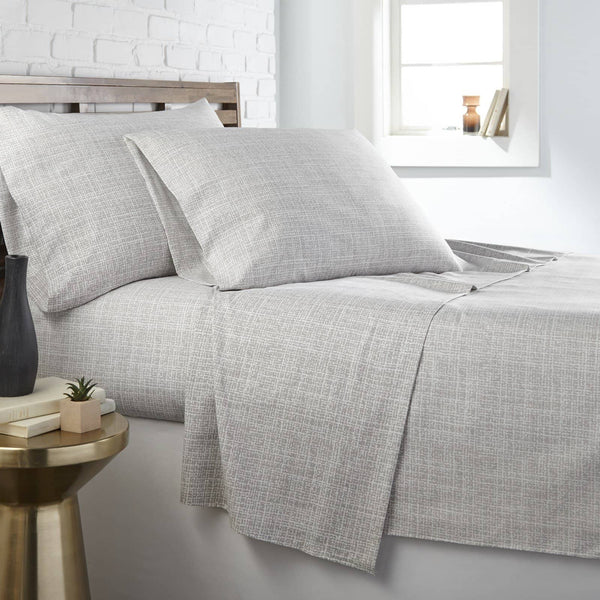 Soft and Comfortable Grey Muted Mesh Microfiber Sheet and Pillowcase Set by Southshore Fine Linens Main Image