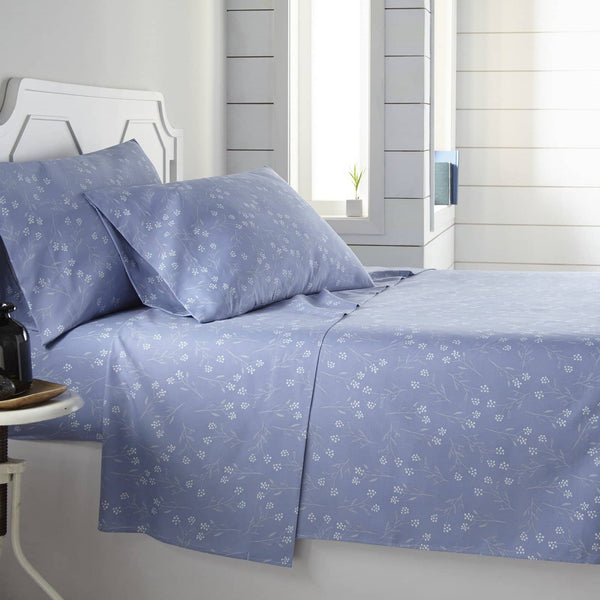 Soft and Comfortable Blue Blossoms Microfiber Sheet and Pillowcase Set by Southshore Fine Linens Main Image