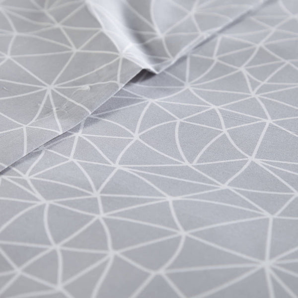 Soft and Comfortable Grey with White Geometric Maze Microfiber Sheet and Pillowcase Set by Southshore Fine Linens Image 2