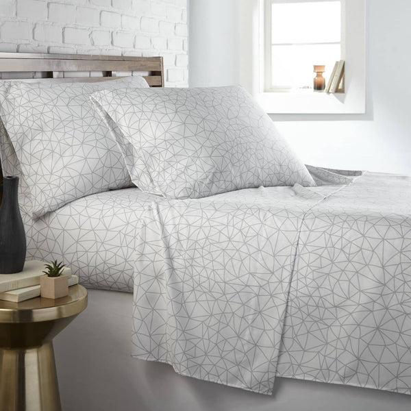Soft and Comfortable White with Grey Geometric Maze Microfiber Sheet and Pillowcase Set by Southshore Fine Linens Main Image