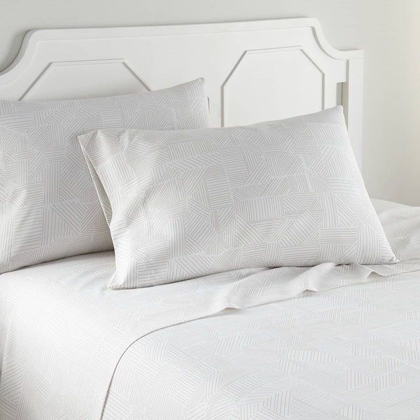 Soft and Comfortable White with Taupe Geo Dreams Microfiber Sheet and Pillowcase Set by Southshore Fine Linens Image 2