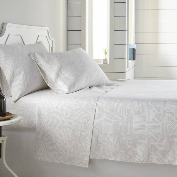 Soft and Comfortable White with Taupe Geo Dreams Microfiber Sheet and Pillowcase Set by Southshore Fine Linens Main Image