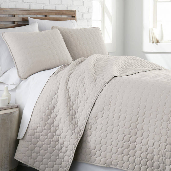 Ultra-Soft Reversible Circle Embroidered Quilt Set in Bone