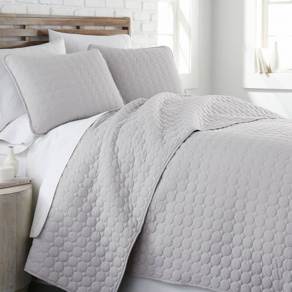 Ultra-Soft Reversible Circle Embroidered Quilt Set in Grey