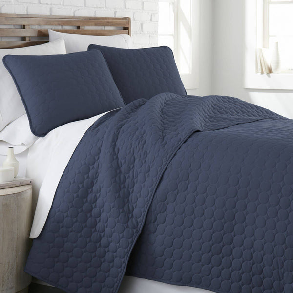 Ultra-Soft Reversible Circle Embroidered Quilt Set in Navy Blue