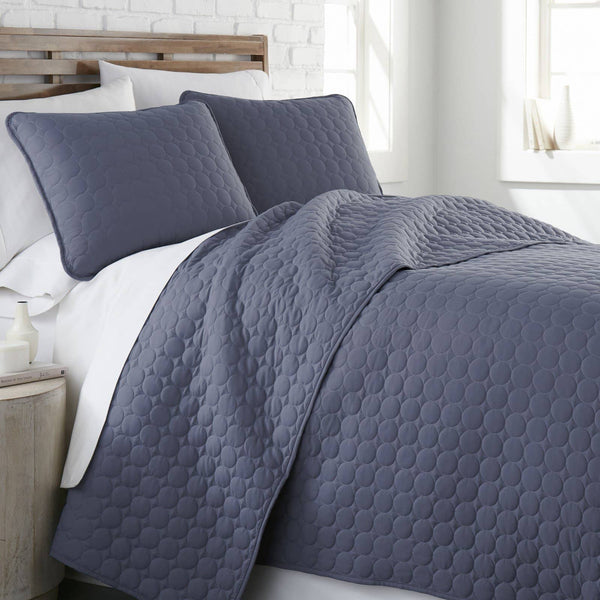 Ultra-Soft Reversible Circle Embroidered Quilt Set in Slate