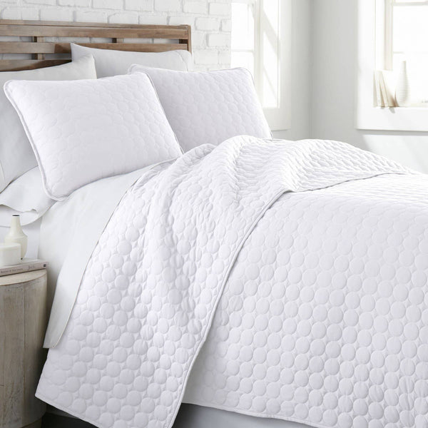 Ultra-Soft Reversible Circle Embroidered Quilt Set in White