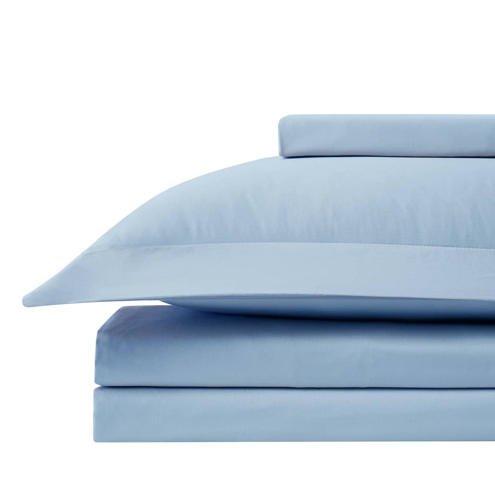 Solid Cotton Duvet Cover in Blue