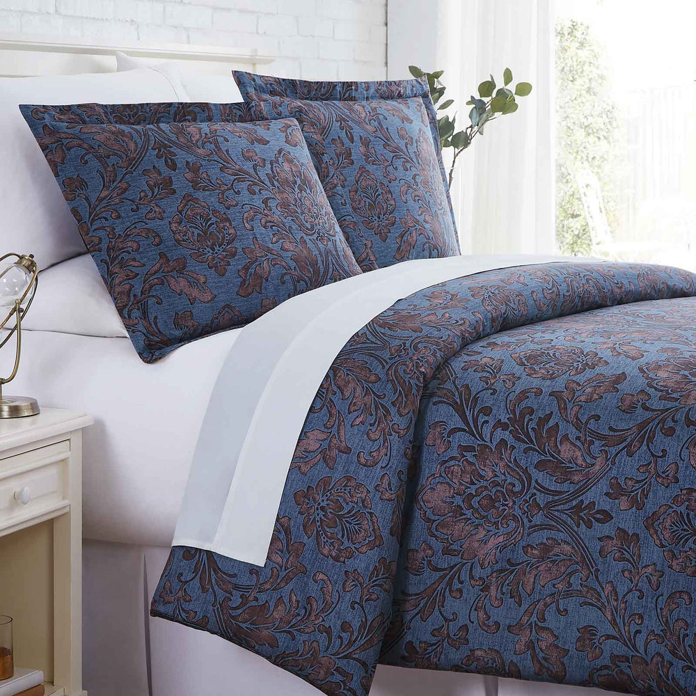 French Garden Cotton Duvet Cover Set in Blue