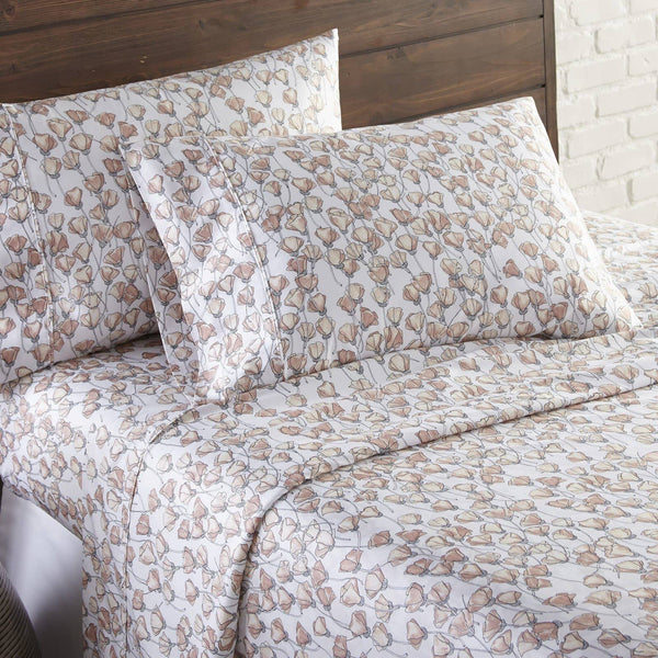 Soft and Comfortable Blush Forevermore Floral Briteyarn Cotton Sheet and Pillowcase Set by Southshorefine Linens Image 2