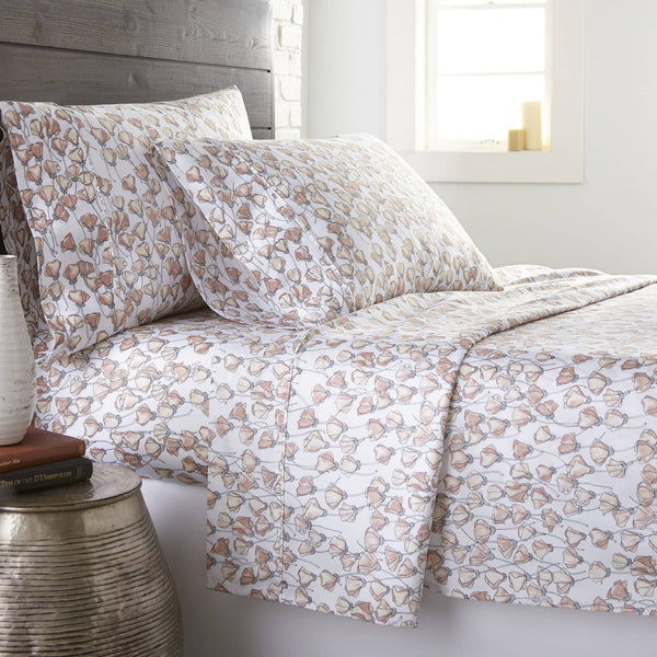 Soft and Comfortable Blush Forevermore Floral Briteyarn Cotton Sheet and Pillowcase Set by Southshorefine Linens Main Image