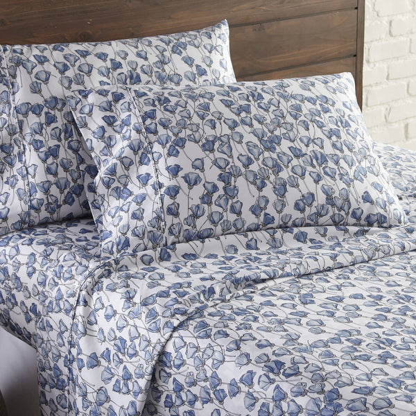 Soft and Comfortable Forevermore Floral Briteyarn Cotton Sheet and Pillowcase Set by Southshorefine Linens Image 2