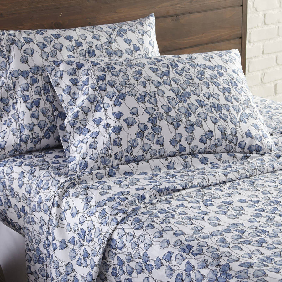 Soft and Comfortable Forevermore Floral Briteyarn Cotton Sheet and Pillowcase Set by Southshorefine Linens Main Image