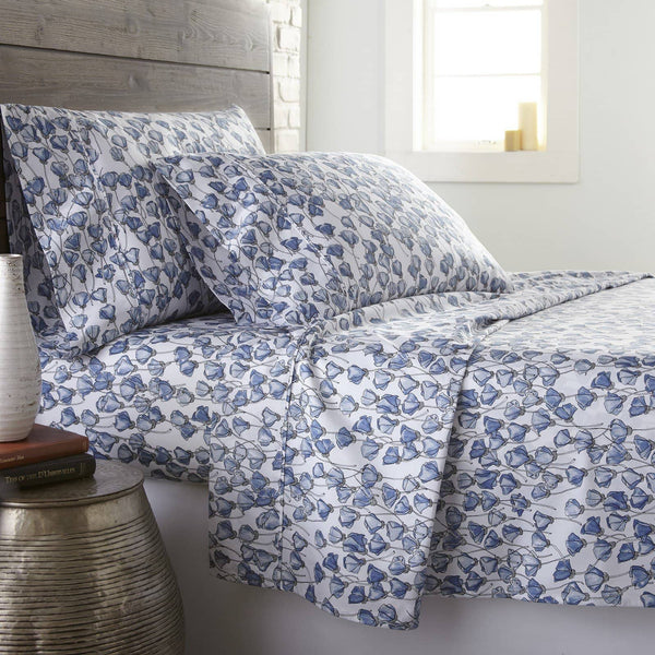 Soft and Comfortable Blue Forevermore Floral Briteyarn Cotton Sheet and Pillowcase Set by Southshorefine Linens Main Image
