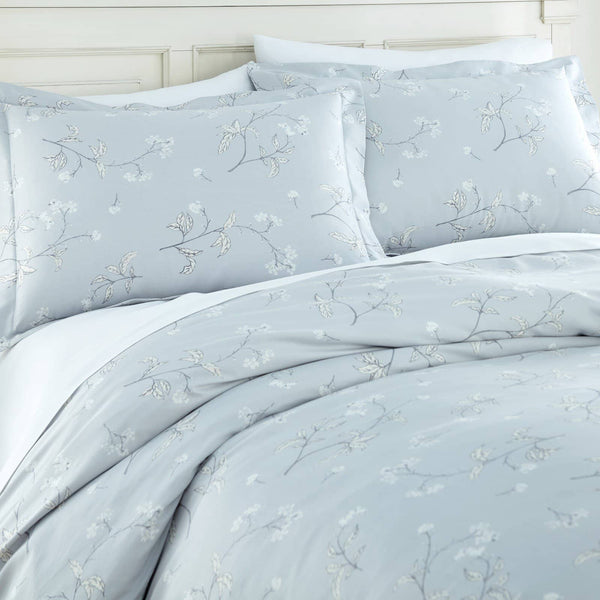 Soft Grey Myosotis Briteyarn Cotton Duvet Cover and Sham Set by Southshore Fine Linens Image 2