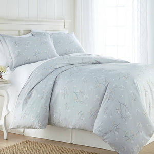 Soft Grey Myosotis Briteyarn Cotton Duvet Cover and Sham Set by Southshore Fine Linens Main Image