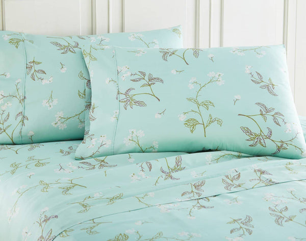 Soft Green Myosotis Briteyarn Cotton Sheet and Pillowcase Set by Southshore Fine Linens Image 2
