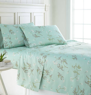 Soft Green Myosotis Briteyarn Cotton Sheet and Pillowcase Set by Southshore Fine Linens Main Image
