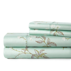 Soft Green Myosotis Briteyarn Cotton Sheet and Pillowcase Set by Southshore Fine Linens Stack Image