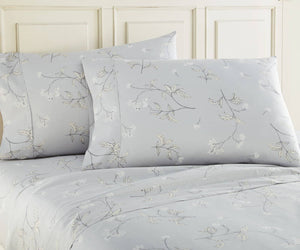 Soft Grey Myosotis Briteyarn Cotton Sheet and Pillowcase Set by Southshore Fine Linens Image 2