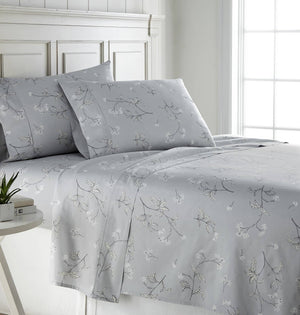 Soft Grey Myosotis Briteyarn Cotton Sheet and Pillowcase Set by Southshore Fine Linens Main Image