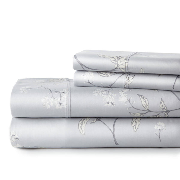 Soft Grey Myosotis Briteyarn Cotton Sheet and Pillowcase Set by Southshore Fine Linens Stack Image