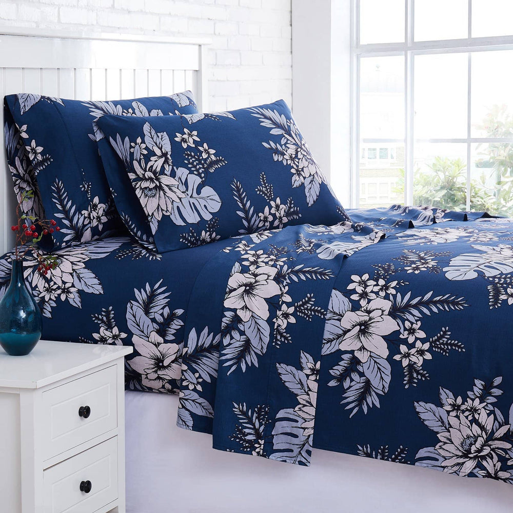 Flora Cotton Sheet Set in Blue