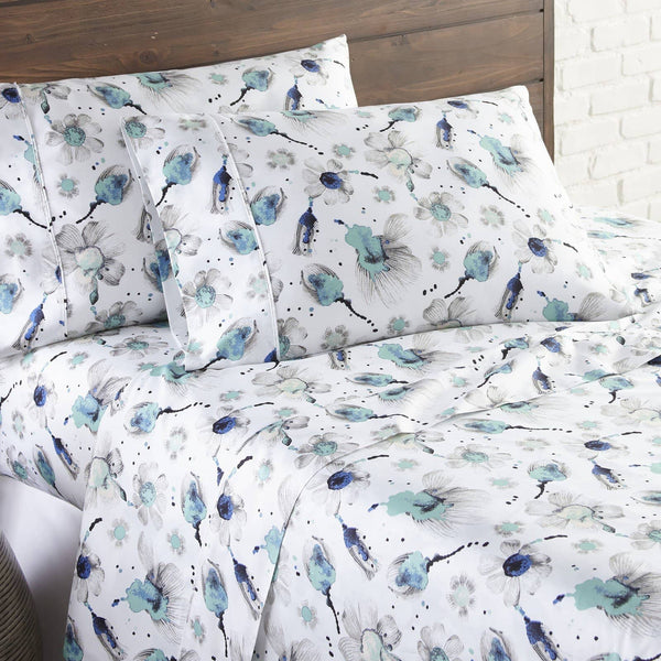 Soft and Comfortable Blue Grand Symphony Floral Briteyarn Cotton Sheet and Pillowcase Set by Southshore Fine Linens Image 2