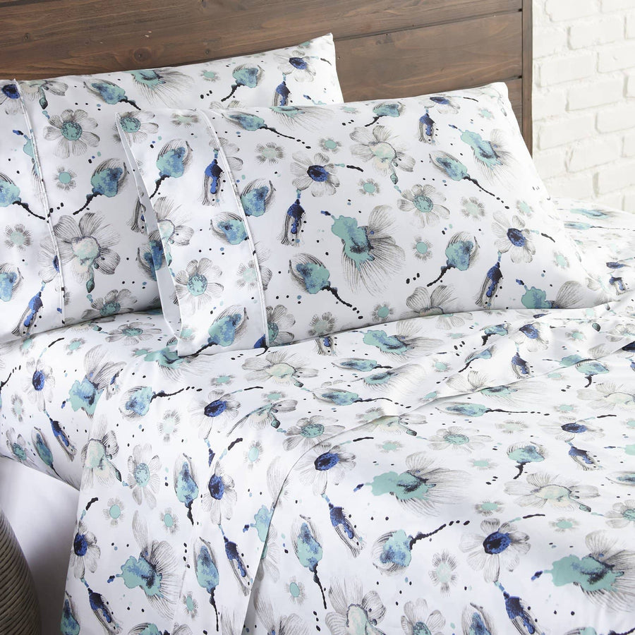 Soft and Comfortable Grand Symphony Floral Briteyarn Cotton Sheet and Pillowcase Set by Southshore Fine Linens Main Image