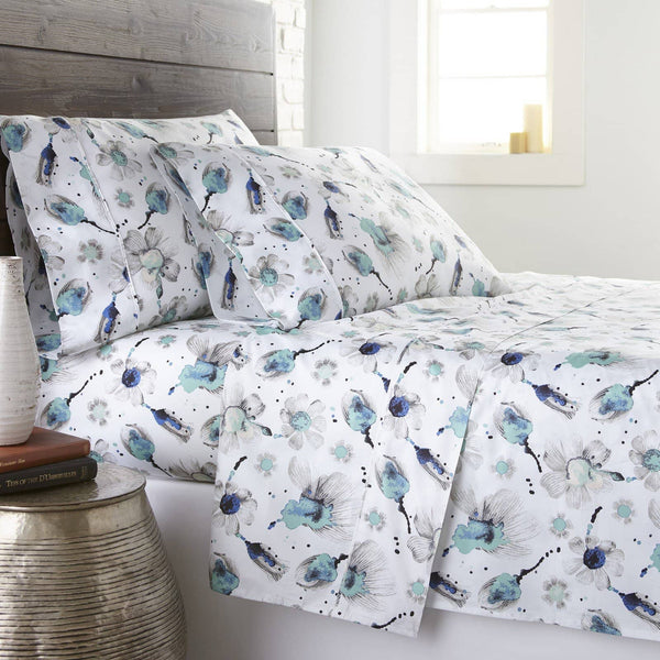 Soft and Comfortable Blue Grand Symphony Floral Briteyarn Cotton Sheet and Pillowcase Set by Southshore Fine Linens Main Image